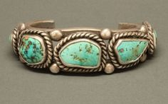 Bracelet of Heavy Silver and Turquoise