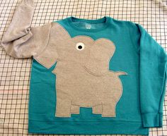 Elephant Trunk sleeve sweatshirt sweater jumper LADIES M or L Peacock Blue crewneck Elephant Sweater, Elephant Shirt, Elephant Trunk, Animal Sweater, Elephant Walk, Looks Style, My Style, Baby Kind, Kids Fashion