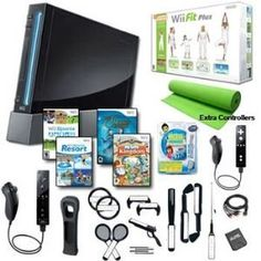 Nintendo Wii Black Holiday Fit Mega Bundle with Remote Plus, Extra Remote and Nunchuck, Games, and Lots of Accessories