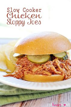 Slow Cooker Chicken Sloppy Joes ~ juicy shredded chicken meets homemade sauce in these effortless sandwiches | FiveHeartHome.com