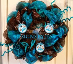 Chocolate Brown and Turquoise Baby Boy Deco Mesh Wreath