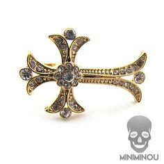 Anel cruz gótica dourada