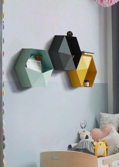16 Creative DIY Geometric Hexagonal Shelving for Your Home Decor - Best Asian travel guide Geometric Origami, Geometric Wall, Cardboard Furniture, Kids Furniture, Etagere Design, Nursery Decor, Room Decor, Cardboard Sculpture, Diy Back To School