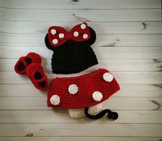 Minnie mouse geïnspireerd set baby meisje kostuum door AllHookdUp