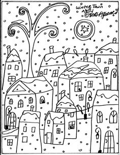 Rug Hook Paper Pattern Winter Town Folk Art Abstract Modern Unique Karla Gerard | eBay