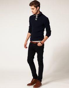 Lace Up Collar Sweater by River Island #mensfashion #menswear #fashion #style #outfit