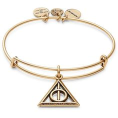 Alex and Ani Harry Potter Deathly Hallows Charm Bracelet ($28) ❤ liked on Polyvore featuring jewelry, bracelets, gold, gold tone charms, charm bracelet bangle, charm bangle, charm jewelry and charm bracelet jewelry