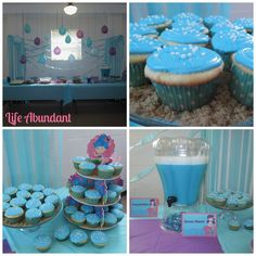 Mermaid Party & Under the Sea Party Ideas | under the sea cupcakes and ocean water punch.