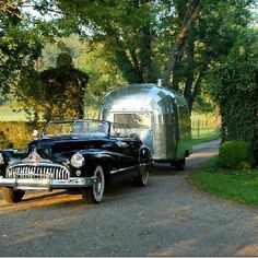 love this picture! An old car pulling an old airstream through (what looks like) wine countryI love this picture! An old car pulling an old airstream through (what looks like) wine country Airstream Vintage, Airstream Bambi, Airstream Travel Trailers, Camper Caravan, Vintage Caravans, Vintage Travel Trailers, Retro Trailers, Camping Trailers, Glamping