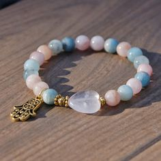 Attracting Love Affirmation Bracelet Rose Quartz, Morganite, Aquamarine with a Hamsa Charm