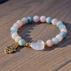 Attracting Love Affirmation Bracelet Rose Quartz, Morganite, Aquamarine with a Hamsa Charm