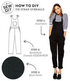 I love my rompers but I've been a little unsure about the overalls trend until I saw this pattern. They're totally adorable and I have a feeling that they're also super comfy, perfect for casual weekend wear. How to DIY Tie Strap Overalls Step Today's i Diy Clothing, Sewing Clothes, How To Sew Clothes, Diy Fashion, Ideias Fashion, Fashion Design, Fashion Ideas, Fashion Clothes, Fashion Tips