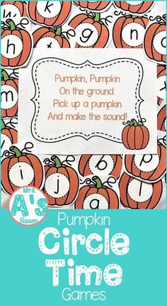 Are you looking for some fresh ideas to liven up your circle time? These pumpkin-theme circle time games are sure to please your preschool and pre-k kids! They are ready to print and easy to prep! - Kids education and learning acts Fall Preschool Activities, Preschool Literacy, Preschool Lessons, Classroom Activities, Preschool Printables, October Preschool Themes, Preschool Poems, Nursery Activities, Montessori Elementary