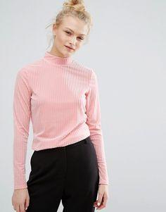 Monki   Monki pink Ribbed Velvet High Neck Top at Asos