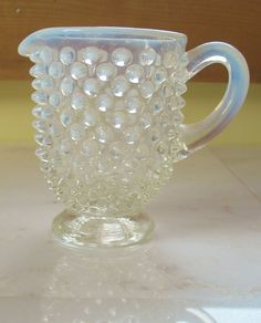Items similar to Vintage Blue Opalescent Iridescent HOPBNAIL Creamer Depression Glass on Etsy