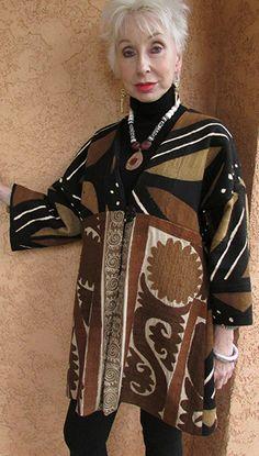 Mudcloth Suzani Jacket by Suzi Click . Mature Fashion, Older Women Fashion, Fashion Over, Look Fashion, Fashion Outfits, Womens Fashion, Fashion Trends, Fashion Black, Cheap Fashion