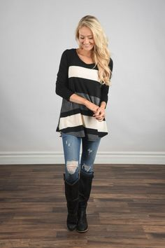 Life in Stripes Top - Steel Grey & Brown – The Pulse Boutique