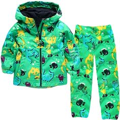 Dehutin Boys Rain Jacket + Rain Pants 2 PCS Animal Printing Clothes Set For Boys (100). Dehutin boys raincoat set use 100% new and high quality cotton, soft and comfortable to wear. Cute animal printing make this raincoat looks more cool and special than other tradition raincoat. This coat can be wear in many place, the way to school, picnic, climbing, skiing and so on. It's a wonderful gift for your little boy. We have 1 color for you, 5 size for different age, please check the detail…