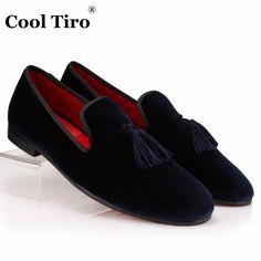9a7f0a6b17b COOL TIRO Tassel loafers Mens Velvet Shoes Handmade Navy Blue Velour  Slippers Smoking Wedding Party Dress