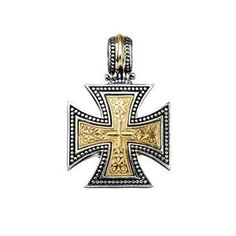 Greek handmade, Gerochristo Silver and Solid Gold Maltese Cross Pendant. This gorgeous Cross is from our Maltese Cross Collection. Notice: This is a handmade item and may require time to make. Size and weight might vary as well. Byzantine Jewelry, Medieval Jewelry, Byzantine Art, Mirror Jewelry Armoire, Sterling Silver Cross Pendant, Greek Jewelry, Maltese Cross, Cross Jewelry, Bridesmaid Jewelry