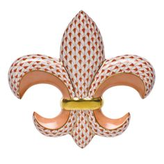 "Herend Hand Painted Porcelain Figurine ""Fleur De Lis"" Rust Fishnet Gold Accents."