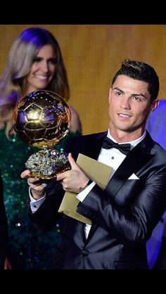 Cristiano Ronaldo winning the Balon D'or