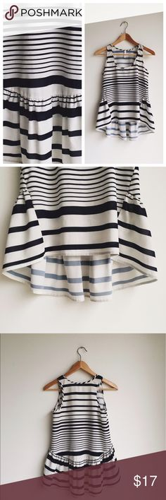 """⚡️SALE!⚡️Navy and white striped ruffle tank I love this one! 16"""" at bust, 21"""" length. Tops Tank Tops"""