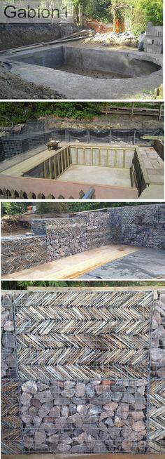 Cornish slate filled gabions, amongst standard gabion rock. http://www.gabion1.co.uk