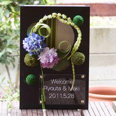ウェルカムボード和風結婚式に円窓和ボードーアジサイ(初夏の結婚式におすすめ)