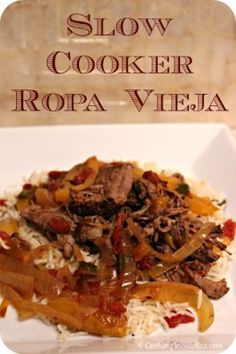 Slow Cooker Ropa Vieja - this Cuban classic couldn't be easier to make in the Slow Cooker - just a quick sear, tumble of ingredients and you can set it and forget it.  http://cookinginstilettos.com/slow-cooker-ropa-vieja/  #Recipe #SlowCooker #Beef