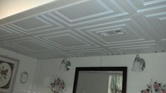 Ceilume's Stratford Ceiling Tiles are mildew and moisture resistant making them perfect for bathroom installations! Bathroom Ceilings, Bathroom Installation, Ceiling Tiles, Tile Floor, Flooring, Ideas, Home, Design, House