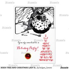 BIRDS TREE AND CHRISTMAS LADY Black White Red Gem Invitation Card #xmas #winter #invitations #invites #woman #fashion
