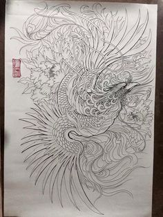 Bird in pencil Asian Tattoos, Leg Tattoos, Body Art Tattoos, Sleeve Tattoos, Japanese Tattoo Art, Japanese Tattoo Designs, Japanese Art, Japanese Phoenix Tattoo, Traditional Japanese