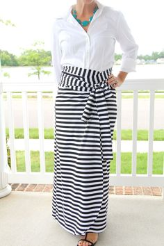 How to sew a simple maxi wrap skirt using a medium weight knit fabric!  SO pretty!!!