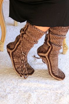 Chocolate Warm Long Slippers Handmade Slippers by aykelila on Etsy, $42.00