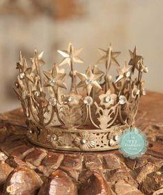 NEWBORN Starlet Crown - Vintage Styled w/ Gold Stars, $40.00 by TFJ Designs