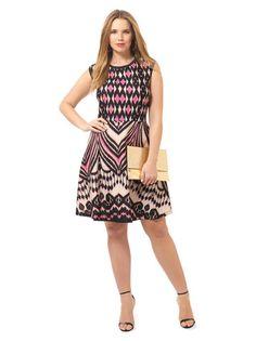 Plus Size TAYLOR DRESSES Scuba Fit & Flare Dress In Azalea