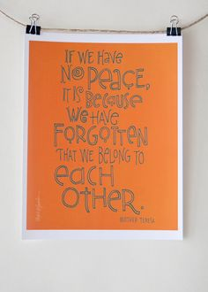 Mother Teresa Quote  Digital Print Mini Poster by Albee on Etsy, $8.00