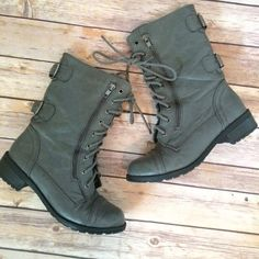 Grey Buckle & Zipper Detailed Combat Boots Hardly any wear.  Grey color.  Darker silver hardware. Zipper and buckle details. Laces all the way up. Soda Shoes Lace Up Boots