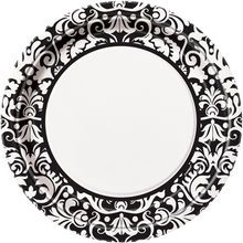 Bring a dash of refinement to your wedding reception engagement party or bridal shower with our Black Damask Dinner Paper Plates.  sc 1 st  Pinterest & Bulk White Paper Party Plates with Black Damask Patterns 7\