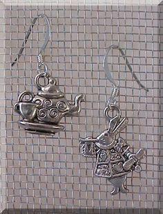 Alice in Wonderland Earrings Silver Charm White Rabbit Teacup Tea Party Teapot #Handmade #DropDangle