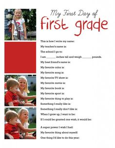 First Day of School Interviews Super cute idea! I'd add this to the first page of the kids photo book for that school year