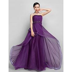 Free Measurements ! A-line/Princess Strapless Asymmetrical Chiffon Evening Dress – USD $ 129.99
