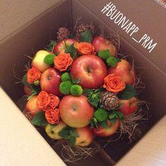 Apple & floral table centerpiece or bouquet Fruit Flower Basket, Fruit Flowers, Flower Boxes, Christmas Arrangements, Edible Arrangements, Harvest Decorations, Flower Decorations, Food Bouquet, Apple Festival