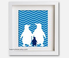 Penguin Family Chevron Print, You Choose the Patterns and Colors, Perfect Gift for a Nursery or Baby Shower. $15.00, via Etsy.
