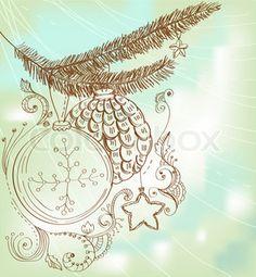 Christmas hand drawn card for Xmas design | Stock Photo | Colourbox on Colourbox