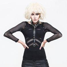 Women Black Stripe Skull Long Sleeve Mesh Gothic Punk Rock Fashion Top SKU-11409463