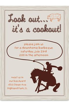 Cowboy Cookout Party Party Invitation
