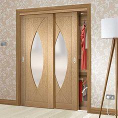 Bespoke Thruslide Pesaro Oak Glazed 2 Door Wardrobe and Frame Kit - Lifestyle Image. Cupboard Door Design, Cupboard Doors, Sliding Wardrobe Doors, 2 Door Wardrobe, Wardrobe Door Designs, Bedroom Cupboards, Bespoke, Glaze, Kit