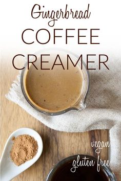 Gingerbread Coffee Creamer (vegan, gluten free) - This creamy homemade coffee creamer recipe is made with coconut milk, almond milk, and gingerbread flavors. It is perfect for the holidays! #vegancoffeecreamer #vegancreamer
